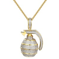 Men's Iced out Hand Grenade Bomb Pendant Necklace