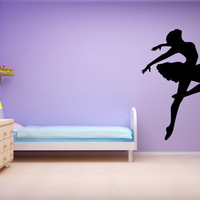 Ballet Wall Decal Dancer Leaping SIlhouette Wall Sticker Art Vinyl Girls Room Decor