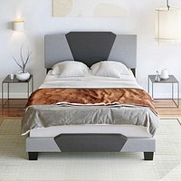 """Platform Bed Frame """" Gray Linen and Charcoal"""""""