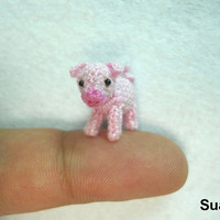 Miniature Pink Piglet  Teeny Tiny Crocheted Pig  Made To by suami