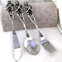 316L Stainless Steel Skull Fork/Spoon/Knife Tableware Cutlery Spoon Fork Sets Dining Accessories Kitchen