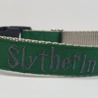 Slytherin Inspired Embroidered Dog Collar
