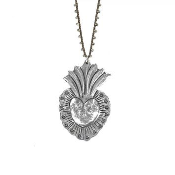 Hand Cast Silver Plated Bronze Heart Necklace