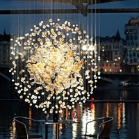 Blown glass chandelier BUBBLES IN SPACE Lighting Sculptures Collection by Lasvit | design Jitka Kamencová Skuhravá