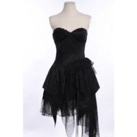 Black Layered Ruffle Skirt Dress