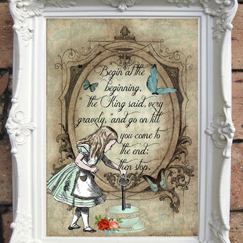 ALICE in Wonderland Quote Art Print. Shabby Chic Decor. Alice in Wonderland Decor Wall Art. Alice Print. Tea Party. Mad Hatter. Code:A006