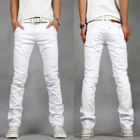 Men's White Slim Fit Casual Sexy Skinny Jeans
