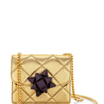 Mini Trouble Bag In Metallic Gold With Violet Party Bow by Marc Jacobs - Moda Operandi