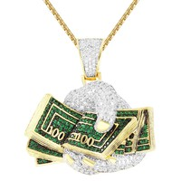 Men's Hands Holding Dollar Bill Cash Rich Custom Pendant Chain