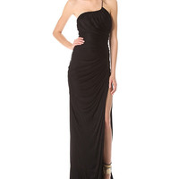 One Strap Ruched Maxi Dress with Slit