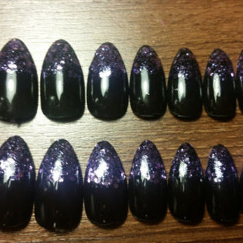 Black Nails With Purple Glitter Tips