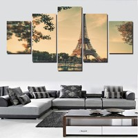 5Panels The Eiffel Tower Panel Modern Home Decoration Canvas Painting Wall Art Deco
