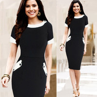 Womens Vintage Rockabilly Cotton Work Party patchwork Bodycon Pencil Dress = 1956880644