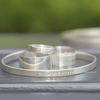 Edgy Bangle Bracelets/ 925 Sterling Silver/Custom Initials/ Personalized item/