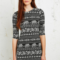 Truly Madly Deeply Bodycon Dress in Elephant Print - Urban Outfitters