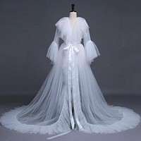 Sexy Women Lingerie White Robes Lace Sheer Mesh Tulle Perspective V neck  Maxi Floor Long Bath Robe Lady Gown Sleepwear