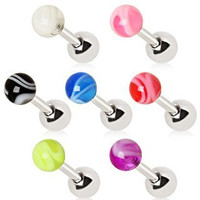 7 pack of 316L Surgical Steel Cartilage Earrings with UV Marble Ball