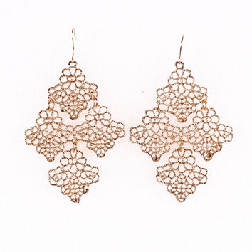 Big Hollow Out Gold Dangle Earrings