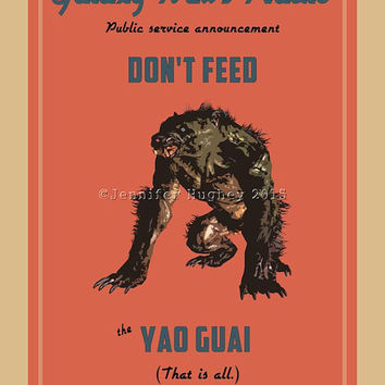 Fallout Poster | Yao Guai Poster | Vintage look print | Videogame art