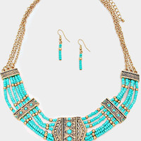 Gold Turquoise Tribal Chevron Beaded Collar Necklace