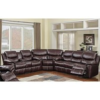 66005 Chestnut 3 Piece Sectional With POWER Sofa