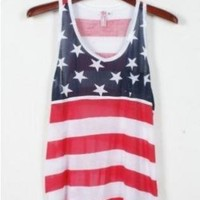 American Flag Print Tank Top for Summer