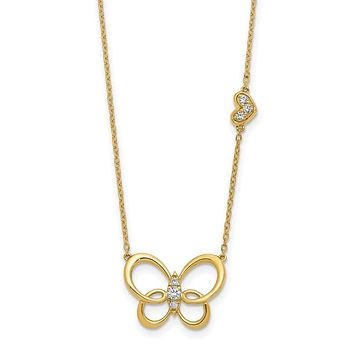 14K Yellow Gold Real Diamond Butterfly 18in Necklace