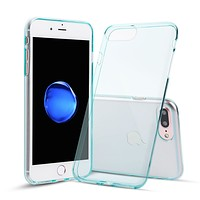 iPhone 7 Plus and iPhone 8 Plus Case TPU Rubber Transparent Silicone Shockproof Blue