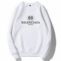Balenciaga Tide brand classic double B letter print loose wild round neck long sleeve sweater white