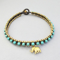 Charm Turquoise and Elephant Pendant Square Knot Anklet