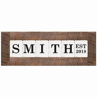 Personalized Classic Block Wall Decor | Natural Frame