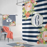 Watercolor Flower Navy Stripe Monogram SHOWER CURTAIN, Flower Bathroom Decor, Custom MONOGRAM Personalized Shower Bath Towel Bath Mat Rug