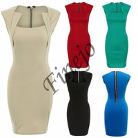 Ladies Square Shaped Neck Bodycon Stretch Fitted Zipper Party Knee-Length Dress  SV002329 = 1902647236