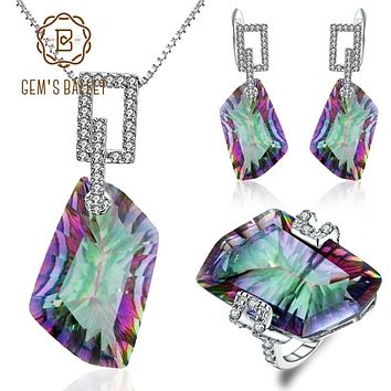 GEM'S BALLET Natural Irregular Rainbow Mystic Quartz Jewelry Sets 925 Sterling Silver Necklace Earrings Ring Set