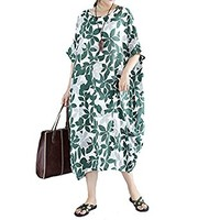 Chinese Style Oversize Cotton Clothing Long Loose Robe 2017 New Summer Women Floral Vintage Dresses Plus Size 3XL 4XL 5XL