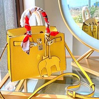 Hermes Elephant Pendant + Shoulder Bag Handbag Yellow
