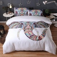 Cool 3pcs Animal White Brand Bedding Sets Elephant 3D Luxury Bed Cover Duvet Cover Comforter Queen King Twin Size Designer Bed SheetsAT_93_12
