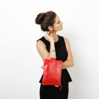 Red leather purse Wristlet clutch Evening bag