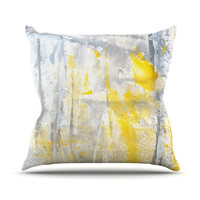 "CarolLynn Tice ""Abstraction"" Grey Yellow Outdoor Throw Pillow, 18"" x 18"" - Outlet Item"