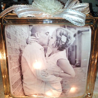 Wedding, Anniversary, Couple Lighted Glass Blocks and Home Glass Decor and Gifts