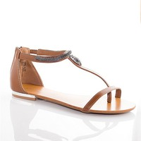 Bamboo Shoes Sensationally Slithery Snake Jeweled Accent Sandals - Chestnut