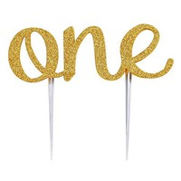 Smartcoco 1st First Birthday Party Gold Glitter ONE Cake Topper Decoration