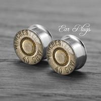 Bullet    Silver steel stain ear gauge,  tunnel  plugs,Stainless Steel Screw Ear Gauges, 2g, 0g, 00g,/16,1/2, 5/8,3/4