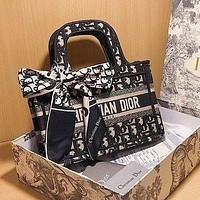 DIOR Hot Sale Classic Embroidered Canvas Printed Letters Shopping Handbag Shoulder Bag Messenger Bag