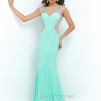 Blush Keyhole Back Prom Gown 9942