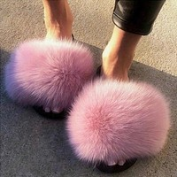 2020 Women Furry Slippers Ladies Shoes Cute Plush Fox Hair Fluffy Sandals Women's Fur Slippers Winter Warm Slippers Women Hot