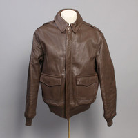70s A-2 Leather JACKET / Mint Condition USAF Horsehide Bomber , 42