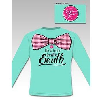 Sale Sassy Frass Life is Better in the South Big Bow Long Sleeve Bright Girlie T Shirt