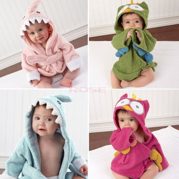 New Baby Toddler Girl Boy Animal Cartoon Pattern Bathrobe Towel 0-2 Years Old 18394 = 1745553412