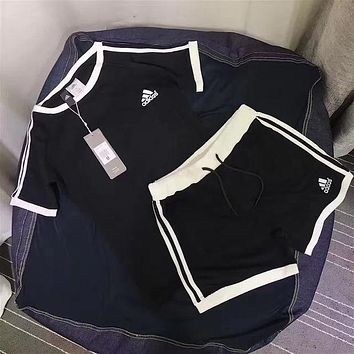 Women Fashion Adidas Print Short sleeve Top Shorts Pants Sweatpants Set Two-Piece Sportswear-2